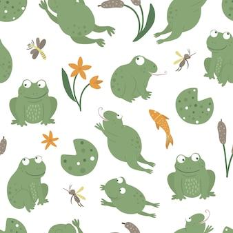 Patrón transparente de vector de ranas divertidas planas de estilo de dibujos animados con imágenes prediseñadas de mosquito, caña, garza. lindo espacio de repetición con animales del pantano del bosque