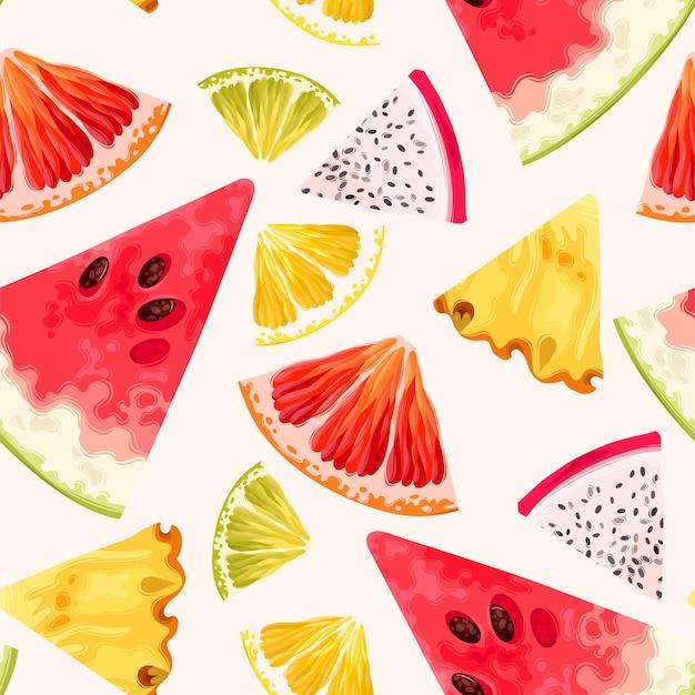 Patrón transparente de vector con rodajas de fruta
