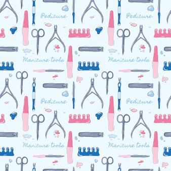 Patrón transparente de vector de un salón de belleza. patrón. ilustración de stock. manicura. herramientas de belleza