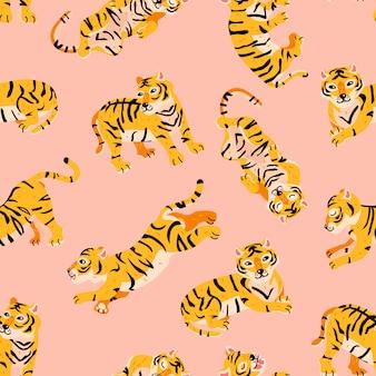 Patrón transparente de vector con tigres en estilo infantil de dibujos animados de moda.