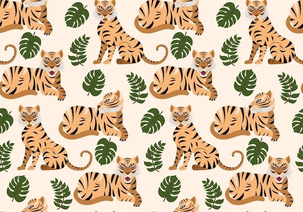 Patrón transparente de vector con tigres y plantas tropicales.