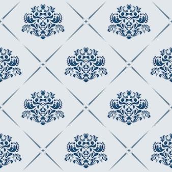 Patrón transparente de vector tradicional con motivos victorianos