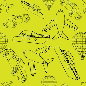 Patrón transparente de vector con transporte.