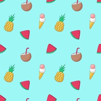 Patrón transparente de vector de verano con la comida de verano