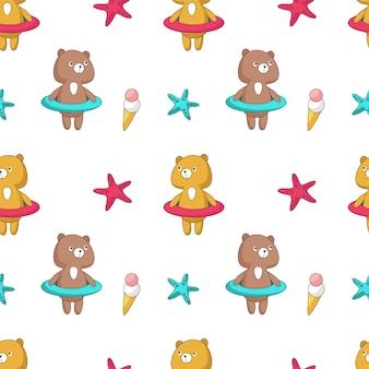 Patrón transparente de vector de verano con divertido oso