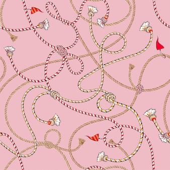 Patrón transparente vector verano náutico humor vector inconsútil con coloridas cuerdas de mar y bandera