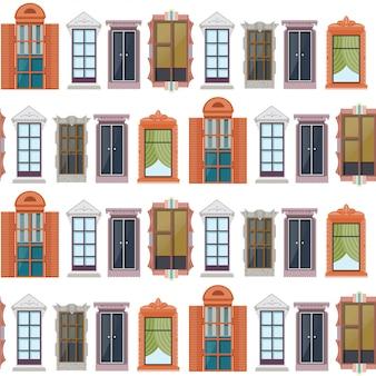 Patrón transparente de ventanas coloridas planas