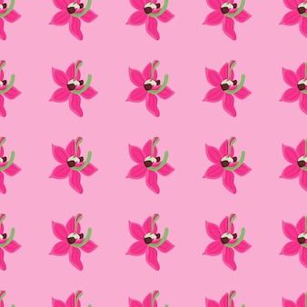 Patrón transparente de verano brillante con elementos de flores de orquídeas rosadas.
