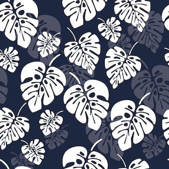 Patrón transparente de verano con hojas de palma monstera blanco sobre fondo azul