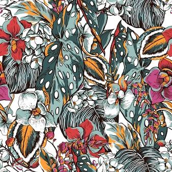 Patrón transparente vintage floral de hojas tropicales y flores florecientes