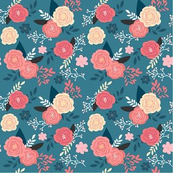 Patrón transparente vintage jardín floral rosa sobre fondo azul oscuro