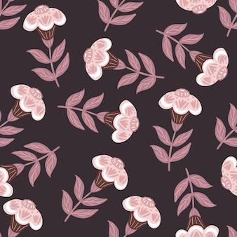 Patrón transparente vintage oscuro en estilo dibujado a mano con elementos de flores populares