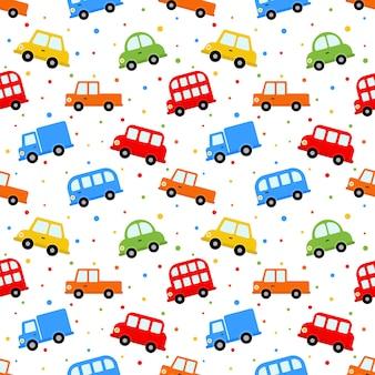 Patrón de transporte sin costura lindo coche
