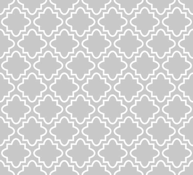 Patrón de trébol de cuatro hojas de vector transparente en textura de cuadrofolio de estilo islámico