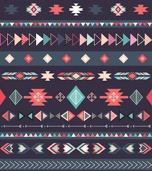 Patrón tribal azteca con formas geométricas