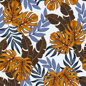 Patrón tropical abstracto sin fisuras con plantas y hojas brillantes