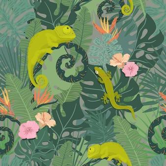 Patrón tropical con camaleón