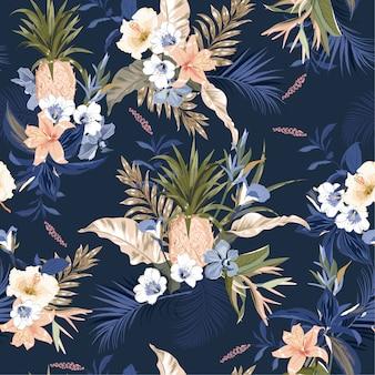 Sin patrón tropical, coloridas plantas exóticas y follaje, hojas de monstera, palmeras.