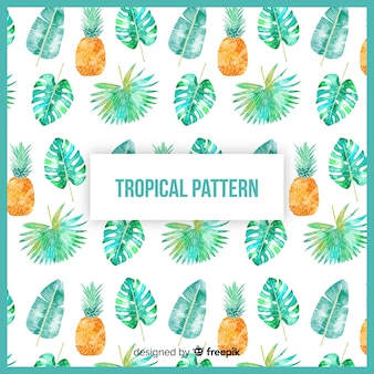 Patrón tropical colorido en acuarela