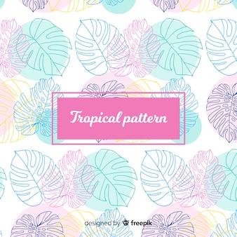 Patrón tropical colorido dibujado a mano