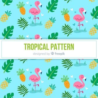 Patrón tropical colorido con flamencos y piñas