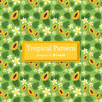 Patrón tropical colorido con frutas