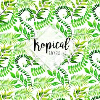 Patrón tropical con diferentes hojas en estilo acuarela