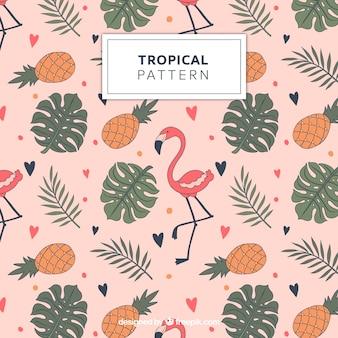 Patrón tropical con flamencos y piñas