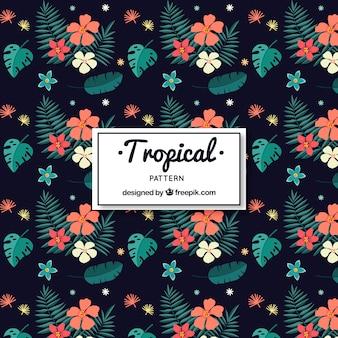 Patrón tropical elegante con estilo vintage