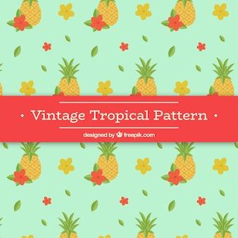 Patrón tropical en estilo vintage