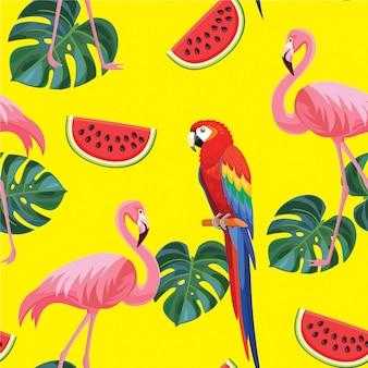 Patrón tropical con flamencos y loros.