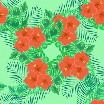Patrón tropical de flores de hibisco y hojas de plátano.