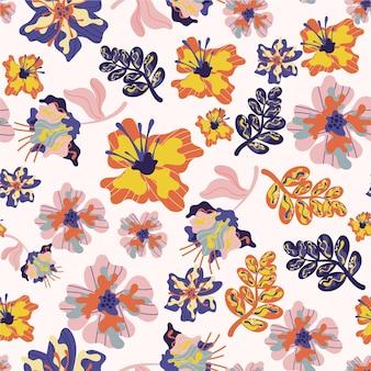 Patrón tropical con flores y hojas.