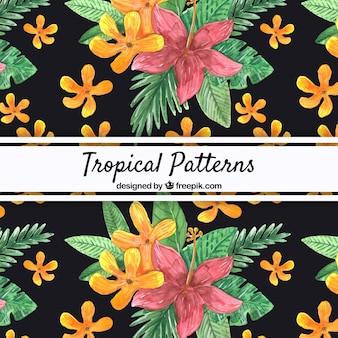 Patrón tropical con flores