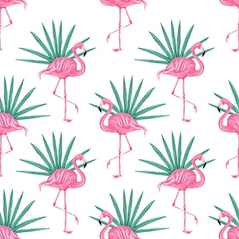 Patrón tropical hermoso vector transparente con flamencos rosados fondo abstracto de verano