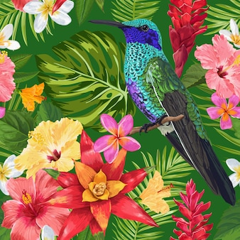 Patrón tropical inconsútil con flores y colibrí