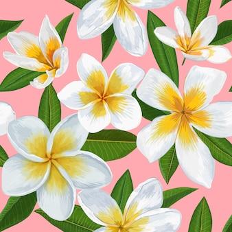 Patrón tropical inconsútil con flores de plumeria
