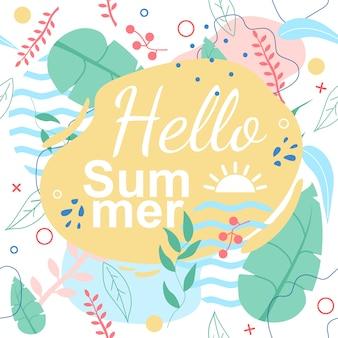 Patrón tropical inconsútil con el título hola verano