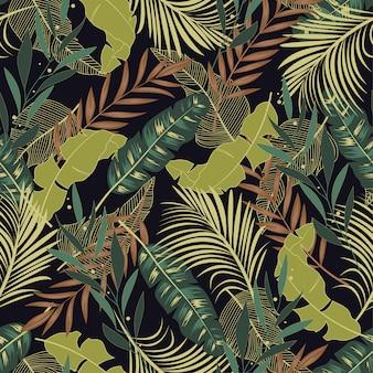 Patrón tropical transparente botánico con hermosas hojas y plantas verdes y amarillas