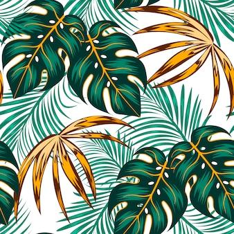 Patrón tropical transparente botánico con hojas brillantes y plantas sobre un fondo claro