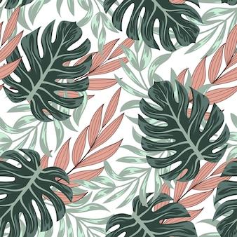 Patrón tropical transparente botánico con hojas brillantes y plantas sobre un fondo delicado