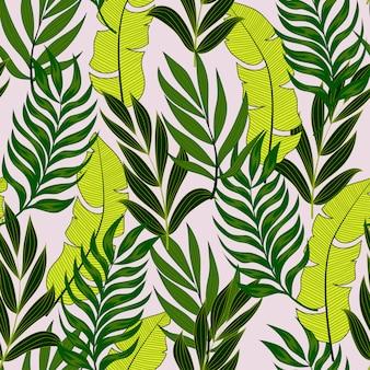 Patrón tropical transparente botánico con hojas y plantas brillantes sobre un fondo pastel