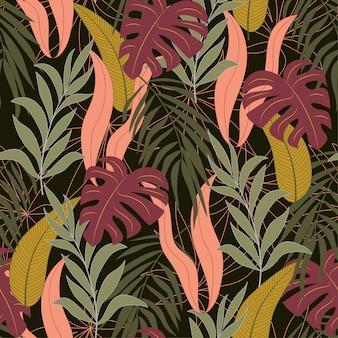 Patrón tropical transparente botánico con plantas y hojas brillantes