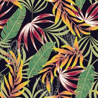 Patrón tropical transparente con hojas brillantes, flores y plantas