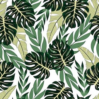 Patrón tropical transparente de moda con plantas brillantes y hojas en un pastel.