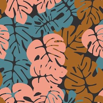 Patrón tropical transparente de verano con coloridas hojas de palma monstera sobre fondo oscuro