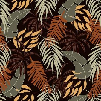Patrón tropical transparente de verano con hermosas hojas y plantas de color naranja y amarillo