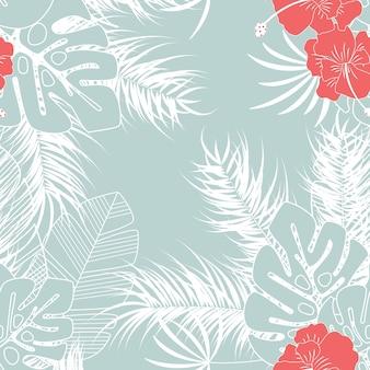 Patrón tropical transparente de verano con hojas de palma monstera y flores sobre fondo azul