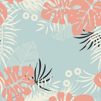 Patrón tropical transparente de verano con hojas de palma monstera, plantas y flores sobre fondo azul