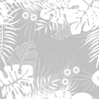 Patrón tropical transparente de verano con hojas de palma monstera y plantas sobre fondo gris